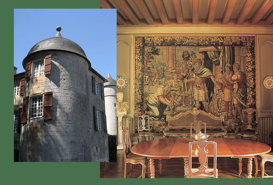 Un château hôtel et ses pièces à vivre conservées dans un esprit d'antan