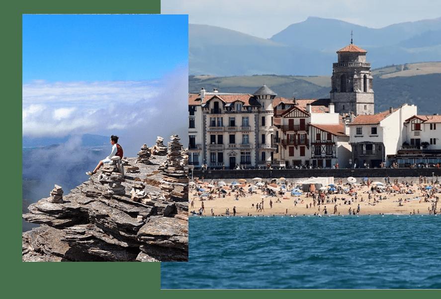 Une vue splendide sur les montagnes et sur l'océan Atlantique depuis Saint-Jean-de-Luz sur tout le Pays Basque