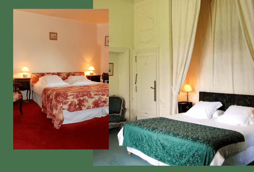 Elégantes chambres du château hôtel d'Urtubie d'Urrugne proche de Saint-Jean-de-Luz au Pays Basque