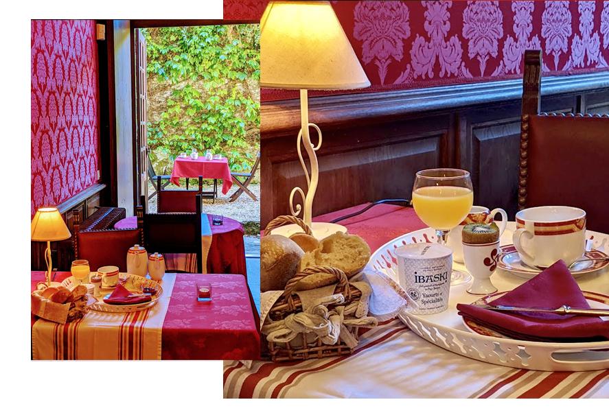Petit déjeuné de l'hôtel château d'Urtubie dans une ambiance d'époque et un confort royal